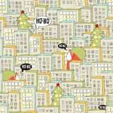 Christmas city seamless pattern. Stock Photo