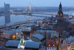 Christmas city. View of Riga, Latvia in the evening Stock Photography