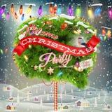 Christmas cityscape and snowfall. EPS 10 Stock Photo