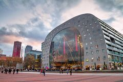 Christmas cityscape on the sunset - view of the Market Hall Markthal on the eve of the holiday, Rotterdam stock image