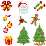 Christmas Classics. Vector clip art Christmas icons including bells, tree, ornaments, gingerbread man, crackers, presents and a laughing Santa Clau Royalty Free Stock Photo
