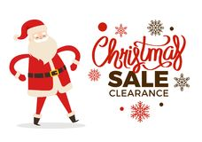Christmas Clearance Sale Poster with Merry Santa. Christmas clearance sale poster with dancing Santa and calligraphic inscription on snowflakes winter holiday Royalty Free Stock Image