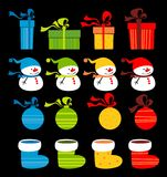 Christmas clip-art. Clip art with Christmas presents, boots, balls and Stock Images
