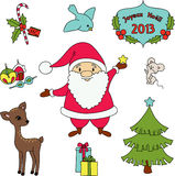 Christmas clip-art. Christmas cartoon clip-art collection. Detailed vector illustration Stock Images