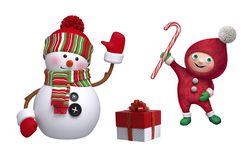 Free Christmas Clip Art Collection. 3d Render Of Cute Snowman, Funny Elf, Wrapped Gift Box, Candy Cane, Isolated On White Background. Stock Photo - 163884730