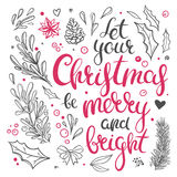 Christmas clip art and decorative elements. Christmas cliparts isolated on white. Vector Christmas floral decorations and hand drawn lettering. Christmas Stock Photos