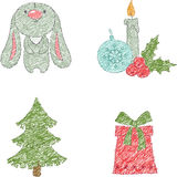 Christmas clip art design. Drawn by charcoal pencil Royalty Free Stock Images
