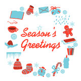 Christmas clip art. Seasons greetings card with christmas clip art. Isolated illustration Royalty Free Stock Photography