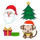 Christmas clip-art set in cartoon style. Year of. The monkey. Vector illustration  on white background Royalty Free Stock Image