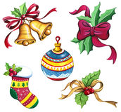 Christmas Clip Art Set, Xmas Watercolor Collection. Stock Photos