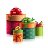 Christmas clip art, stack of gifts boxes, presents pile, package, design element. Stack of gifts boxes, Christmas presents pile, package, design element Stock Photo