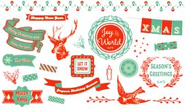 Christmas Clipart. Vintage styled Xmas and New Year elements. Including badges, emblems, decorative elements and icons Stock Photo