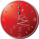 Christmas clock. 12 o'clock sharp, layered and grouped illustration for easy editing Royalty Free Stock Photo
