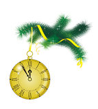 Christmas clock. Design element for new-year congratulations Royalty Free Stock Photos