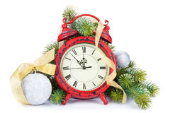 Christmas clock, bauble decor and snow fir tree Royalty Free Stock Photo
