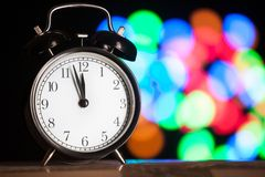 Christmas clock blurred festive background Stock Photography