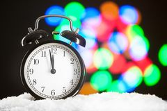 Christmas clock blurred festive background Stock Photos
