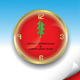 Christmas clock with christmas tree. Vector illustration of christmas clock Royalty Free Stock Photos
