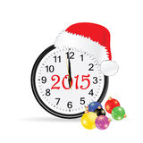 Christmas clock 2015 color vector illustration stock illustration