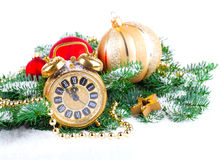 Christmas clock with festive decorations Royalty Free Stock Image