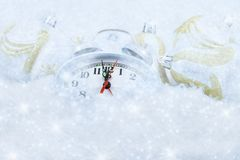 Christmas clock five minutes left Royalty Free Stock Photo