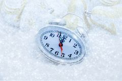 Christmas clock five minutes left Royalty Free Stock Images