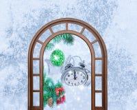 Christmas clock five minutes left Stock Photos