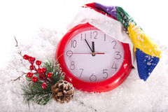 Christmas clock 12 hours. Composition Christmas clock 12 hours Stock Photos