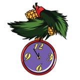 Christmas clock. I present to you a Christmas icon - Christmas clock Royalty Free Stock Photos