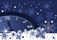 Christmas  clock over abstract blue background Stock Image