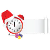 Christmas clock with tearing paper vector royalty free illustration