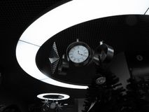 Decorative clocks with stars in the lighting circle stock photography