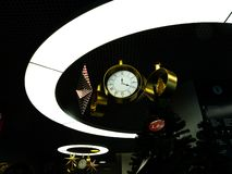 Decorative clocks with stars in the lighting circle stock image