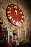 Christmas clocks showing few minutes left to new year Stock Image