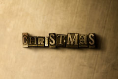 CHRISTMAS - close-up of grungy vintage typeset word on metal backdrop Royalty Free Stock Images