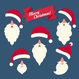 Christmas clothes collection of Santas hats with Royalty Free Stock Images