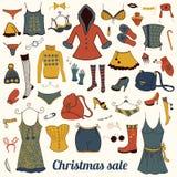 Christmas clothes set Stock Photos