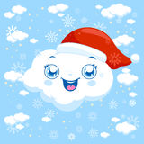 Christmas clouds snowing. At the sky. Vector illustration Royalty Free Stock Photos