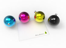 Christmas CMYK color baubles pack Stock Photography