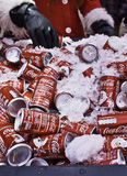 Christmas coca-cola cans Royalty Free Stock Photography