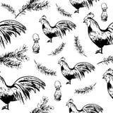 Christmas cock pattern Stock Photos