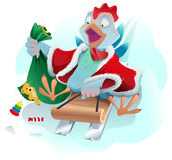 Christmas cock rolls on sledge from mountain. Blue cartoon Rooster symbol 2017 Stock Photo