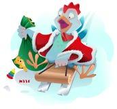 Christmas rolls on sledge from mountain. Blue cartoon Rooster symbol 2017. Vector illustration Stock Illustration