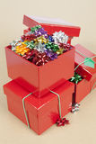 Christmas Cockades in a Box. Christmas Color Cockade in a Box in a paper background Stock Image