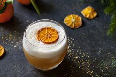 Christmas cocktail of amaretto sour royalty free stock photos