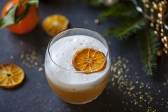 Christmas cocktail of amaretto sour stock image
