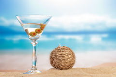 Christmas Cocktail with ball decoration Royalty Free Stock Images