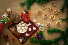 Christmas cocoa with marshmallow and homemade cookies Royalty Free Stock Images