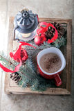 Christmas cocoa in mug on the wooden tray.  Royalty Free Stock Images