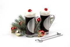 Christmas Coffee. Two festive glasses of Christmas cheer Royalty Free Stock Photos